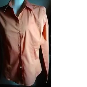 New York & Co Orange Cotton Stretch Shirt